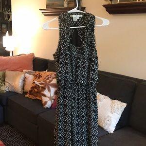 Classic black white boho tribal maxi dress